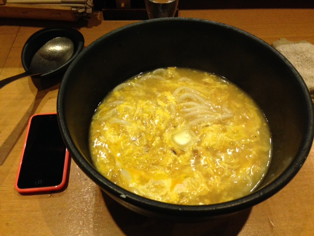 Udon with sweet corn and egg
