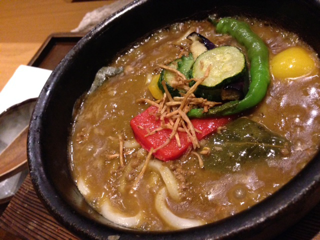Keema curry with summer vegetable Udon