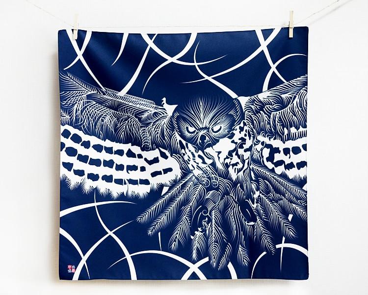 Owl with line art -Fukurou- Furoshiki