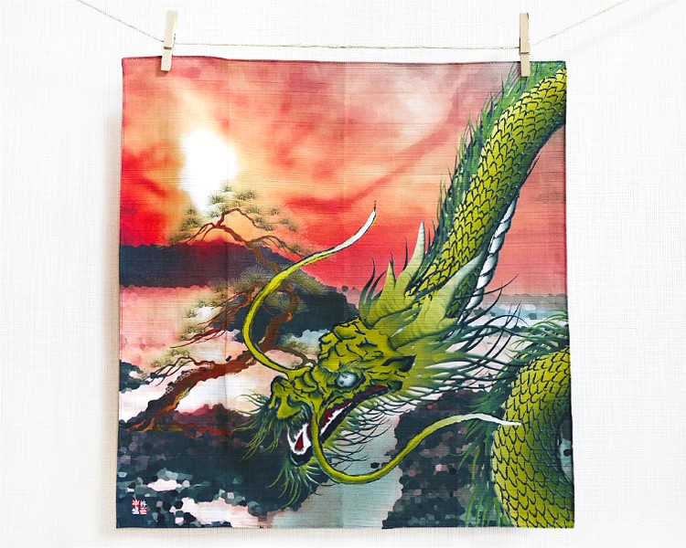 Golden dragon with pine (S) Furoshiki