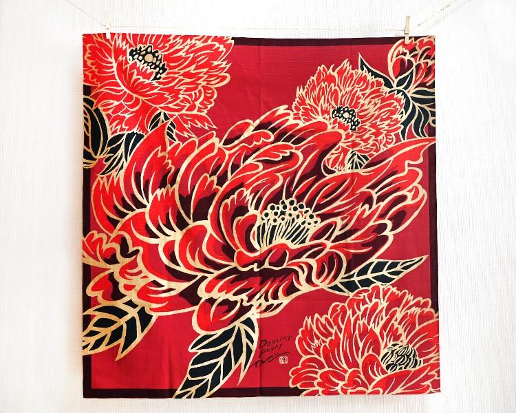 Dancing Peony Red (L) Furoshiki