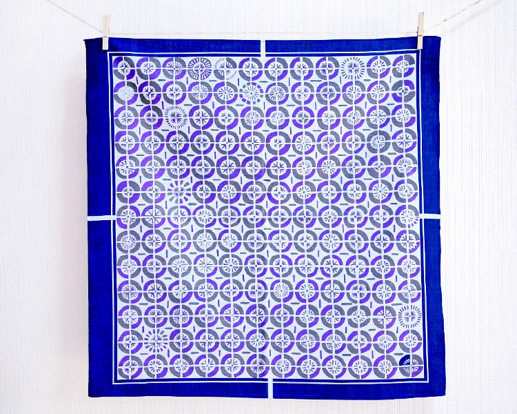 Fan -Ougi- Indigo blue(Cotton) Furoshiki
