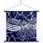 Tapestry Owl with line art -Fukurou- (M) Furoshiki