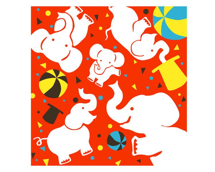 Circus elephant Red (L) Furoshiki