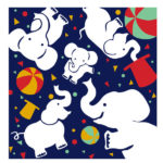 Circus elephant Blue (L) Furoshiki